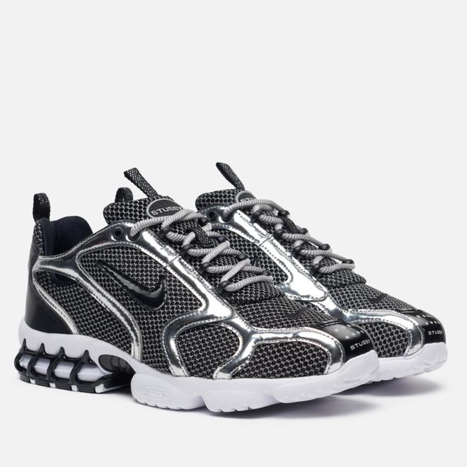 Кроссовки Nike x Stussy Air Zoom Spiridon Caged 2 Pure Platinum/Black/White