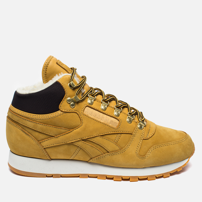 Зимние кроссовки Reebok Classic Leather High Golden Wheat Dark Brown White  ... 022f290fac4