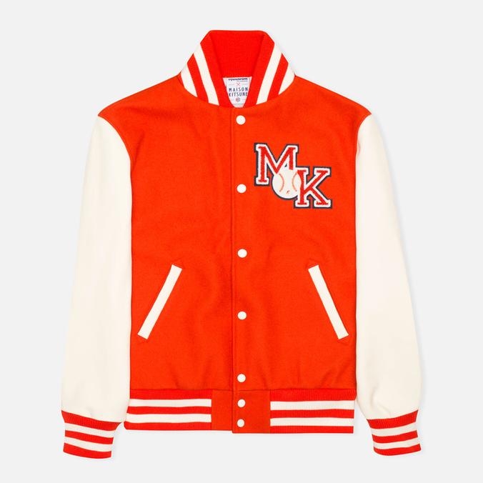 Мужская куртка бомбер Reebok x Maison Kitsune Varsity BOrange/CWhite