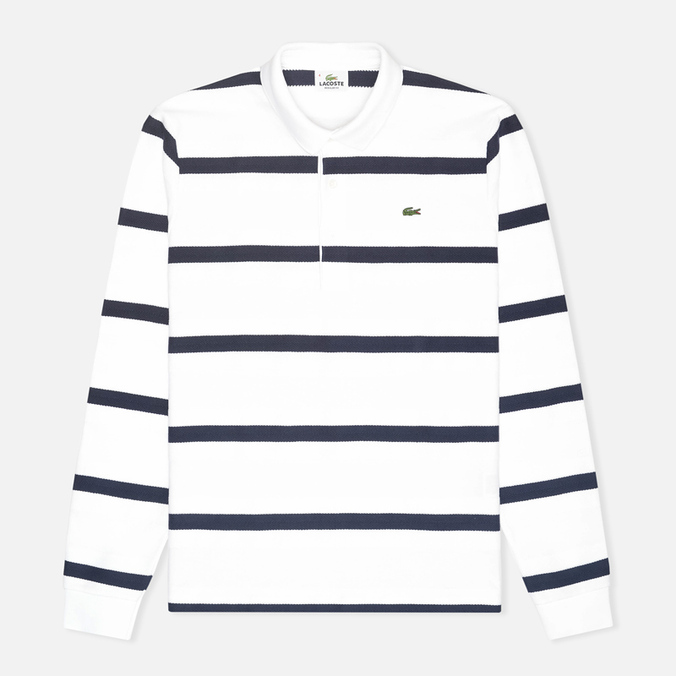 Lacoste Herringbone Stripe Regular Fit Men's Longsleeve White/Navy Blue