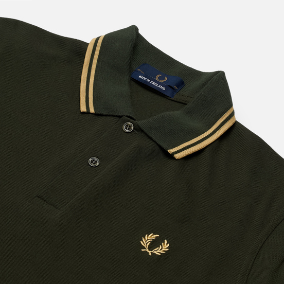 Мужское поло Fred Perry M12 Hunting Green/Champagne