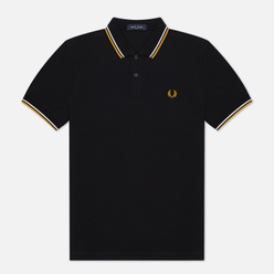 Мужское поло Fred Perry M3600 Twin Tipped Black/White/Gold