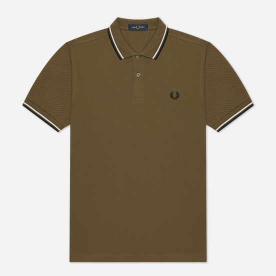 Мужское поло Fred Perry M3600 Twin Tipped Military Green/Snow White/Black