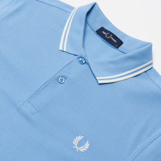 Мужское поло Fred Perry M3600 Twin Tipped Sky/Snow White/Snow White