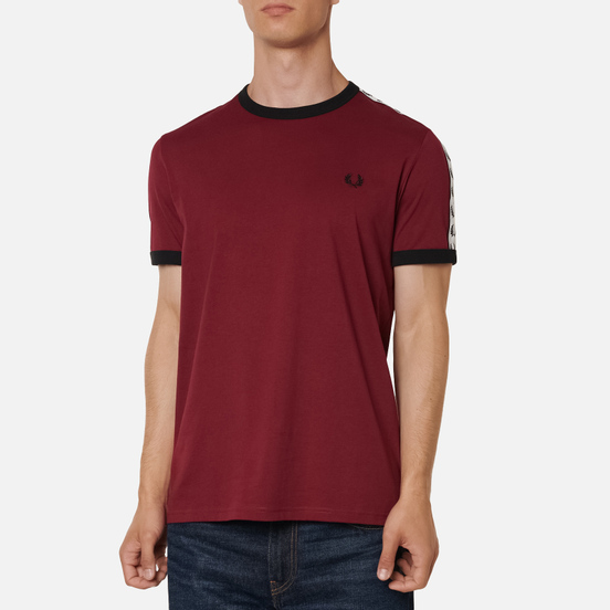 Мужская футболка Fred Perry Taped Ringer Tawny Port/Black/White