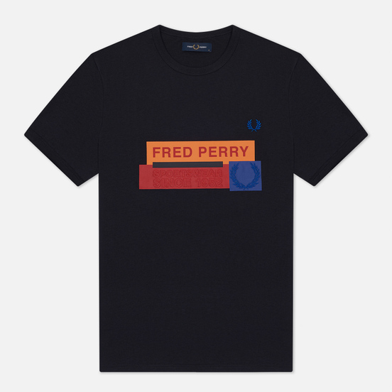 Мужская футболка Fred Perry Colour Block Mixed Graphic Navy