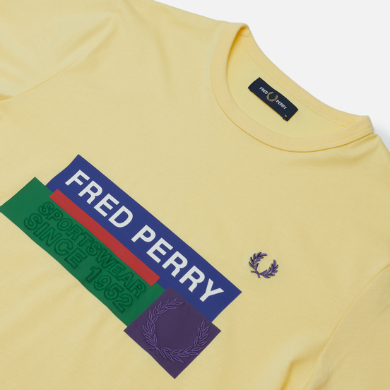 Мужская футболка Fred Perry Colour Block Mixed Graphic Daffodil
