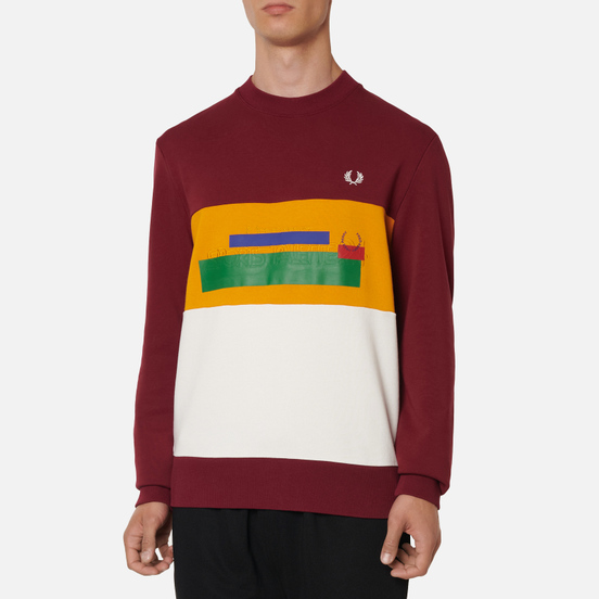 Мужская толстовка Fred Perry Colour Block Mixed Graphic Tawny Port