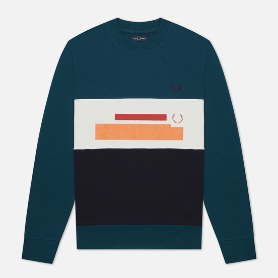 Мужская толстовка Fred Perry Colour Block Mixed Graphic Petrol Dreams
