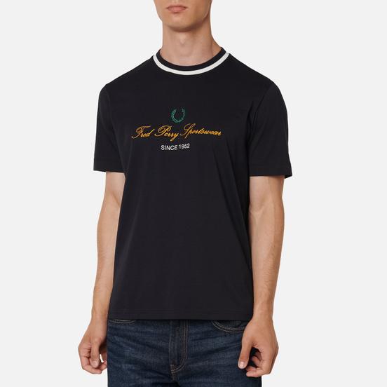 Мужская футболка Fred Perry Modernist Streetwear Script Embroidered Navy