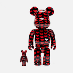 Игрушка Medicom Toy Bearbrick Black Heart 100% & 400%