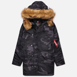 Мужская куртка парка Alpha Industries N-3B Slim Fit Black Woodland Camo