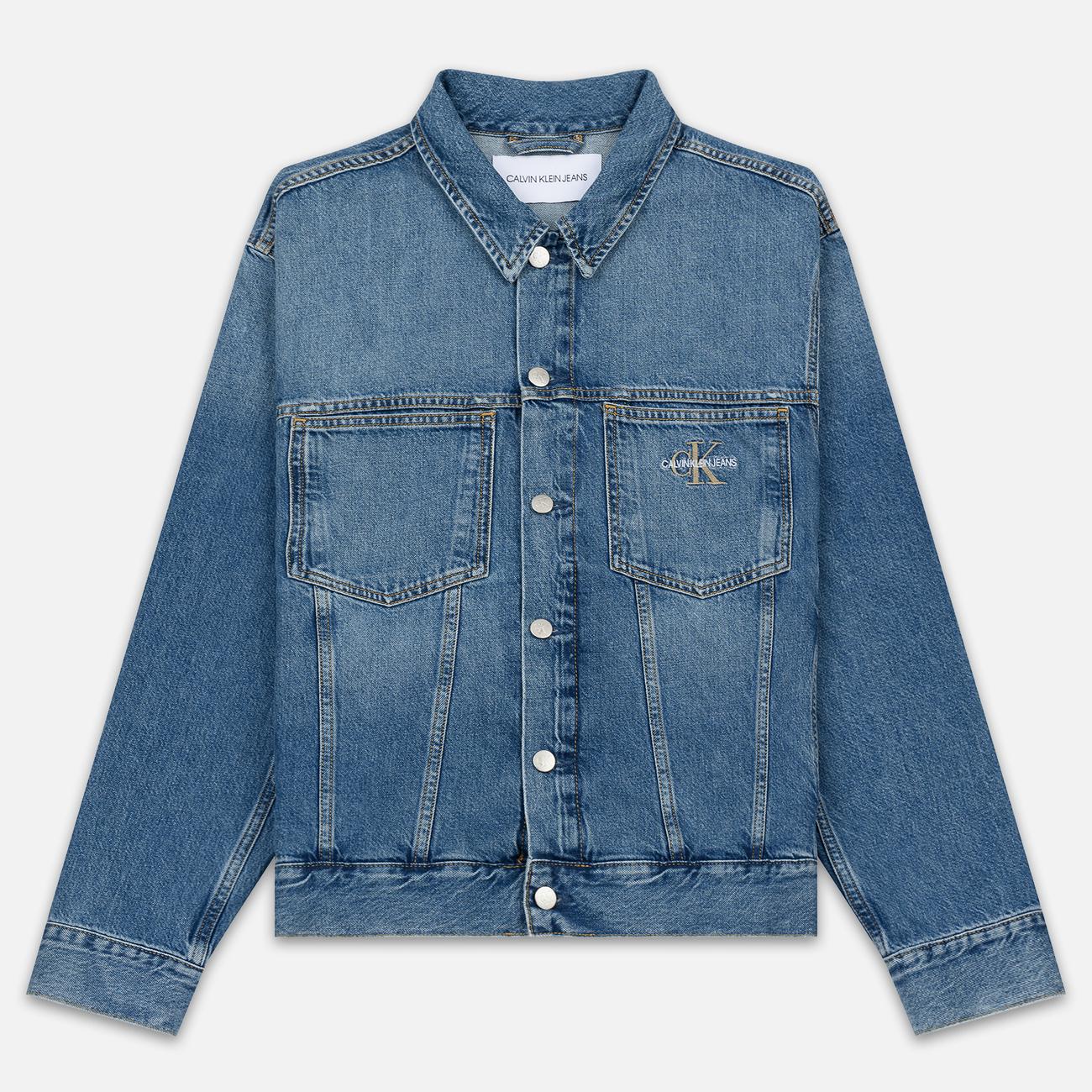 Мужская джинсовая куртка Calvin Klein Jeans Oversized Embroidered Monogram Mid Blue