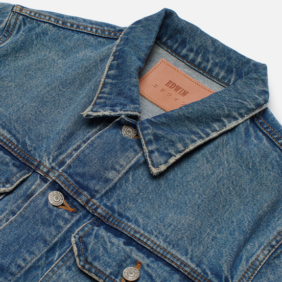 Мужская джинсовая куртка Edwin Denim Kaihara Rainbow Selvage 14 Oz Blue Heavy Worn Out Look