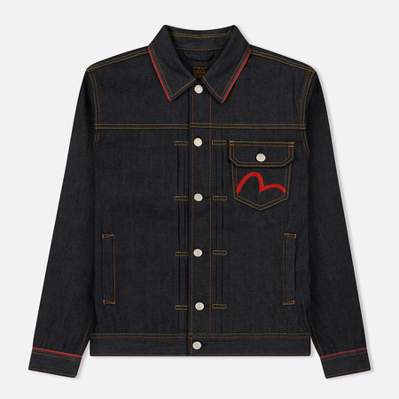 Мужская джинсовая куртка Evisu Heritage Denim Baku & Nue Embroidered At Black Indigo