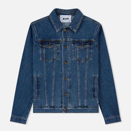 Мужская джинсовая куртка MSGM Logo MSGM Print Medium Blue