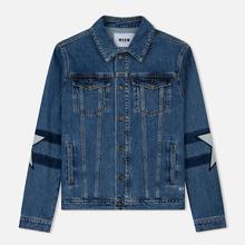 Мужская джинсовая куртка MSGM WOW Print And Stars Medium Blue фото- 0