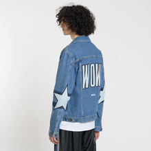 Мужская джинсовая куртка MSGM WOW Print And Stars Medium Blue фото- 4