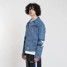 Мужская джинсовая куртка MSGM WOW Print And Stars Medium Blue фото- 3