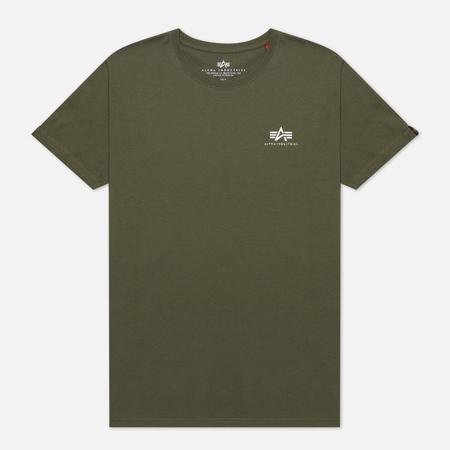 Мужская футболка Alpha Industries Basic Small Logo Dark Olive