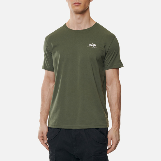 Мужская футболка Alpha Industries Basic Small Logo Dark Olive
