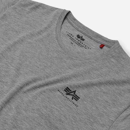 Мужская футболка Alpha Industries Basic Small Logo Grey Heather