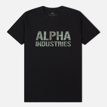 Мужская футболка Alpha Industries Camo Print T Black/Woodland Camo
