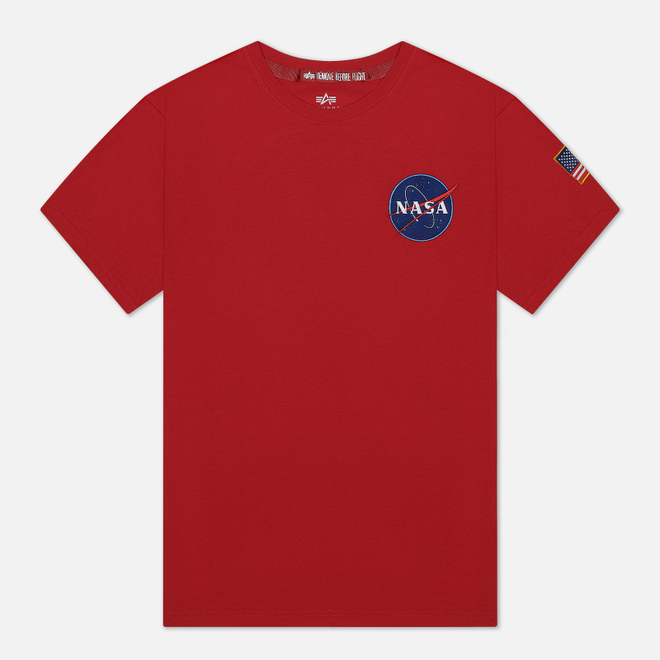 Мужская футболка Alpha Industries Nasa Space Shuttle Speed Red
