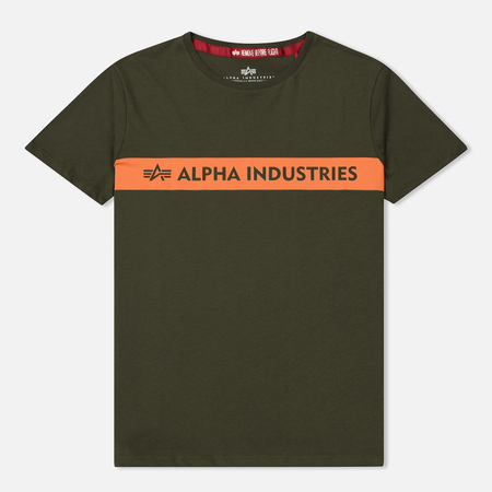 Мужская футболка Alpha Industries Red Stipe T Dark Green