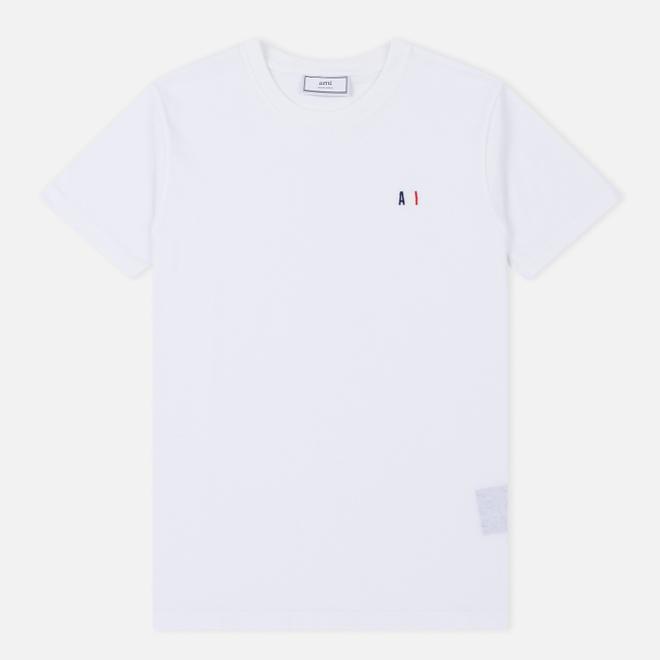 Мужская футболка AMI Col Rond Petit AMI White