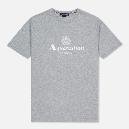 Aquascutum Griffin Crew Neck Logo SS Men's T-Shirt Grey Marl