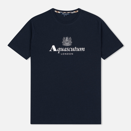 Aquascutum Griffin Crew Neck Logo SS Men's T-Shirt Navy
