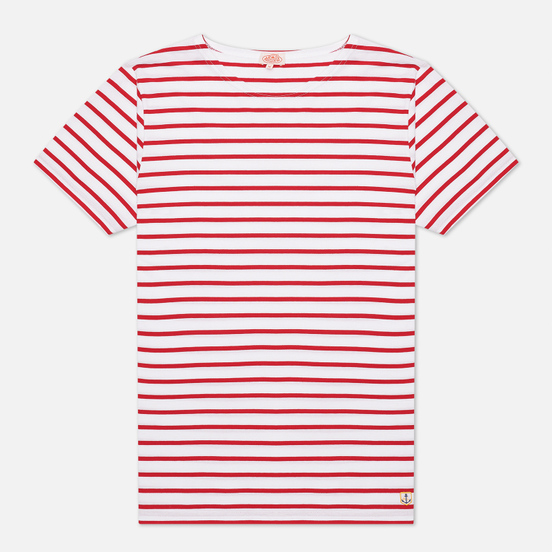 Мужская футболка Armor-Lux Heritage Mariniere Hoedic White/Braise Dark Red