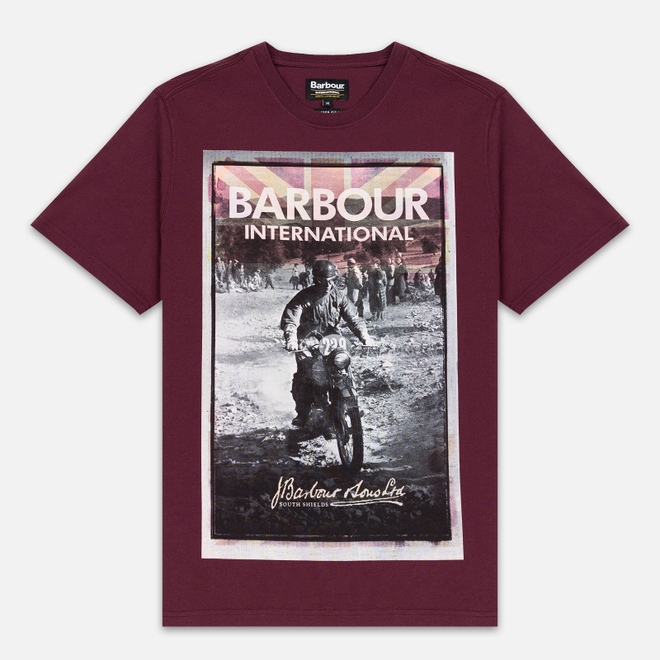 Мужская футболка Barbour International Archive Biker Merlot