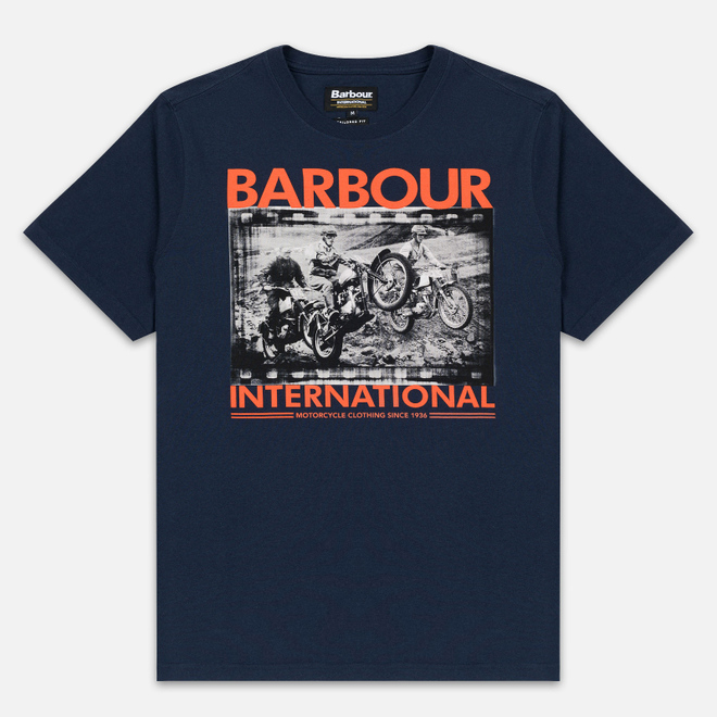 Мужская футболка Barbour International Archive Biker Navy