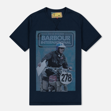 Barbour x Steve McQueen International Control Men's T-Shirt Navy