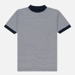 Мужская футболка Blue Blue Japan J5599 Heavy Cotton Striped Mock Neck Narrow Navy/White фото- 0
