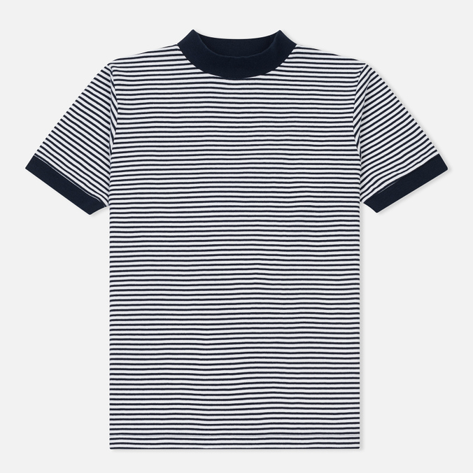 Мужская футболка Blue Blue Japan J5599 Heavy Cotton Striped Mock Neck Narrow Navy/White