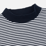 Мужская футболка Blue Blue Japan J5599 Heavy Cotton Striped Mock Neck Narrow Navy/White фото- 1