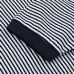 Мужская футболка Blue Blue Japan J5599 Heavy Cotton Striped Mock Neck Narrow Navy/White фото- 2