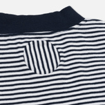 Мужская футболка Blue Blue Japan J5599 Heavy Cotton Striped Mock Neck Narrow Navy/White фото- 3