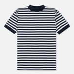 Мужская футболка Blue Blue Japan J5599 Heavy Cotton Striped Mock Neck Wide Navy/White фото- 0