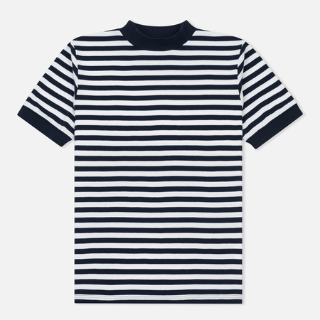 Мужская футболка Blue Blue Japan J5599 Heavy Cotton Striped Mock Neck Wide Navy/White