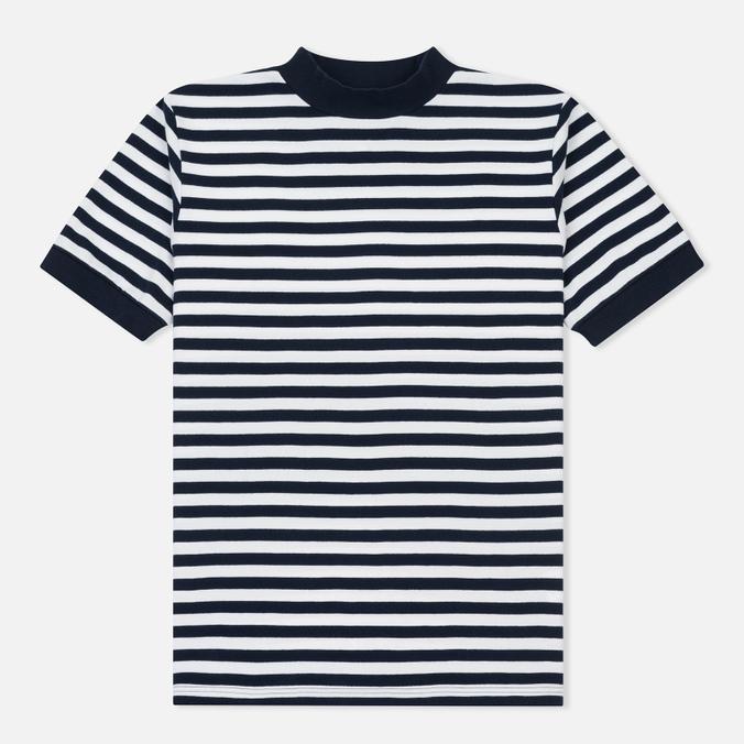 Мужская футболка Blue Blue Japan J5599 Heavy Cotton Striped Mock Neck Wide Navy/White