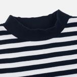 Мужская футболка Blue Blue Japan J5599 Heavy Cotton Striped Mock Neck Wide Navy/White фото- 1