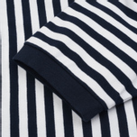 Мужская футболка Blue Blue Japan J5599 Heavy Cotton Striped Mock Neck Wide Navy/White фото- 2