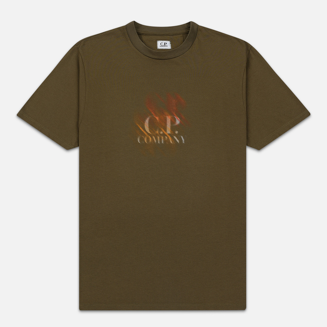 Мужская футболка C.P. Company Blurred Graphic Logo Olive Night