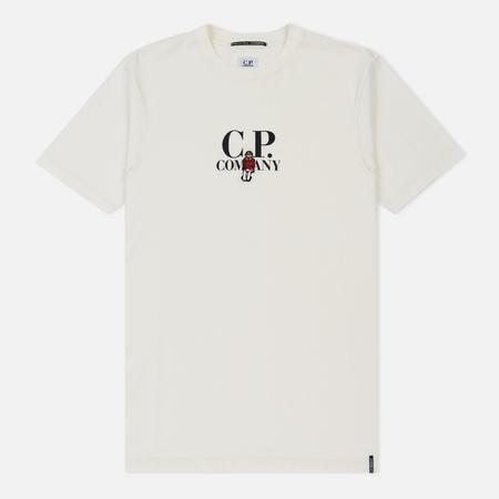 Мужская футболка C.P. Company Crew Neck Logo And Cartoon Sailor Chest Print Gauze White