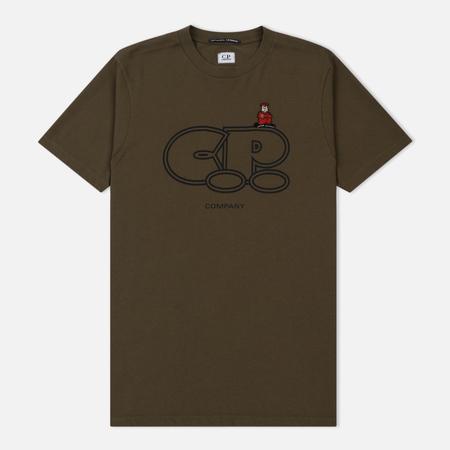 Мужская футболка C.P. Company Crew Neck Print Cartoon Logo Dark Olive