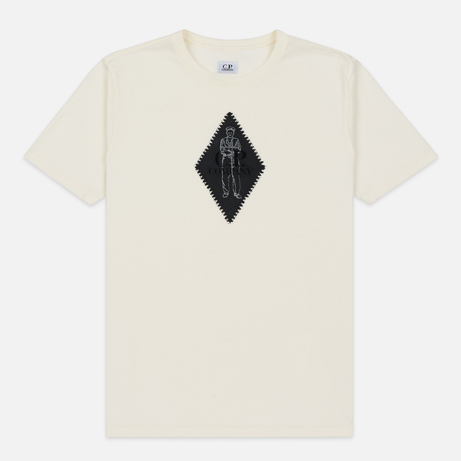 Мужская футболка C.P. Company Diamond Logo Print Regular Fit Gauze White